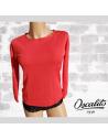 T-Shirt manches longues laine et soie Oscalito geranium glamour et chaud