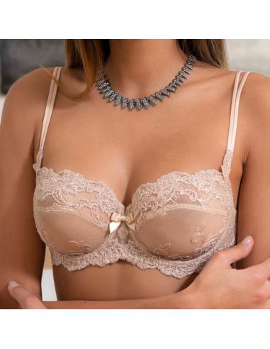 Soutien-gorge balconnet en dentelle Platinum Fashion Ambra nude