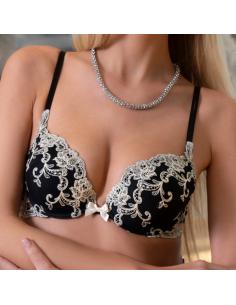 Soutien-gorge push up en dentelle Platinum Fashion - ambra bicolore noir et ivoire