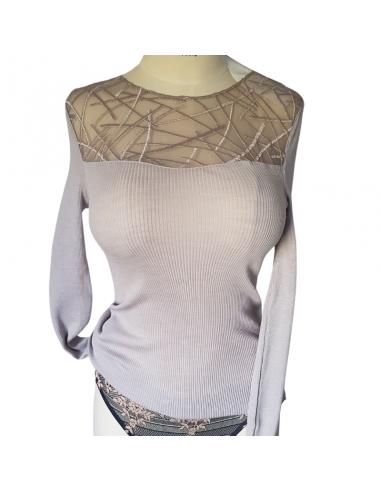 Pull manches longue col rond motifs géométriques Laine et soie - Oscalito ficelle