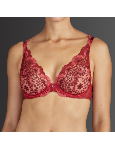 Soutien-gorge triangle plunge armatures ART OF INK- Aubade french red