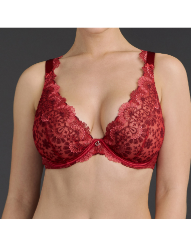 Soutien-gorge triangle plunge confort armatures ART OF INK- Aubade french red