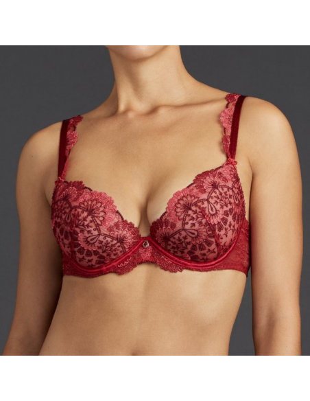 Soutien-gorge plunge coussinets ART OF INK- Aubade french red