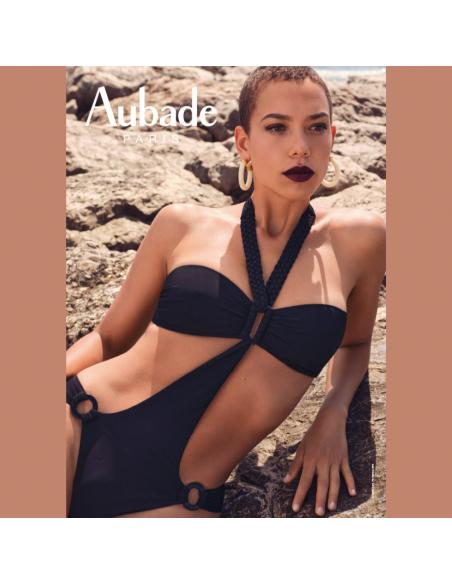 Maillot de bain 1 pièce trikini sans armatures LA PLAGE ENSOLEILLEE noir - Aubade