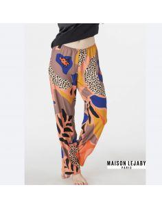 Pantalon fluide imprimé COLORBLOCK Maison Lejaby Origami