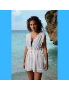 Tunique de plage légère décolleté V SUNSCAPE Freya blanc