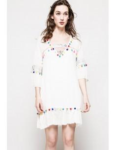 Robe de Plage Pompons Blanc Nouveau