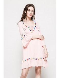 Robe de Plage Pompons Rose Nouveau